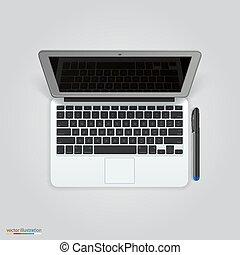 Computer with a pen. Vector