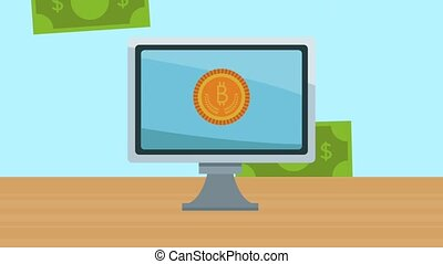computer with bitcoin ecommerce animation