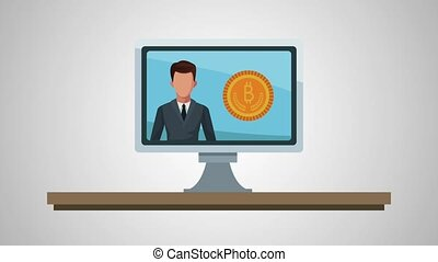computer with businessman and bitcoin ecommerce animation