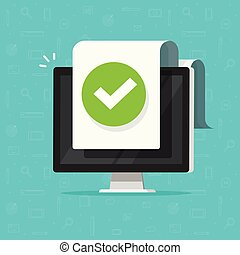 Computer with checkmark or tick notification on document vector icon, flat design pc with approved doc paper sheet, idea of task done, update or download complete, accept or approve checkmark clipart