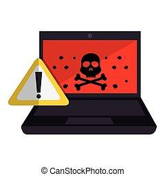 computer with computing alert vector illustration design