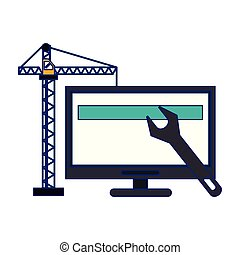 computer with construction crane and wrench blue lines