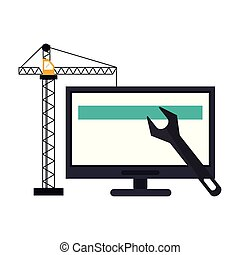 computer with construction crane and wrench