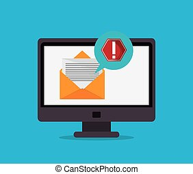 computer with digital messaging related icons image vector illustration design