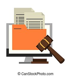 Computer with document and justice gavel symbol