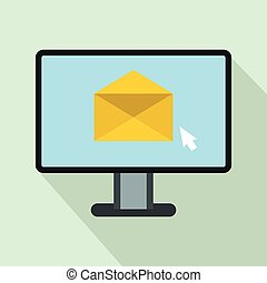 Computer with e-mail icon, flat style