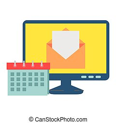 computer with envelope mail and calendar vector illustration design