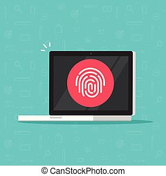Computer with fingerprint vector icon, flat cartoon laptop pc with secure login technology, concept electronic internet signature, biometric security access, digital privacy, protection system clipart
