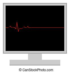 computer with flatline heart rhythm