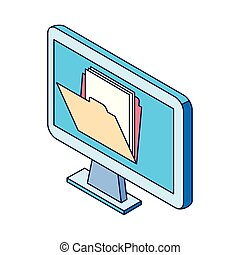 computer with folder on screen icon