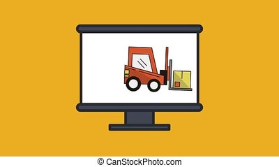 computer with forklift delivery service animation