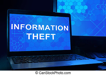 Computer with Information Theft - Computer with words...