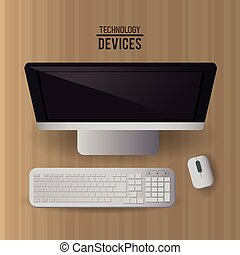 Computer with keyboard and mouse