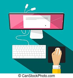 Computer with Keyboard, Hand and Mouse. Vector Illustration.