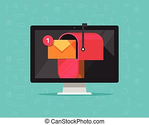 Computer with mailbox on screen vector illustration, flat cartoon desktop pc display with mail box, concept of new e-mail received, letter or newsletter message, internet email delivery, inbox