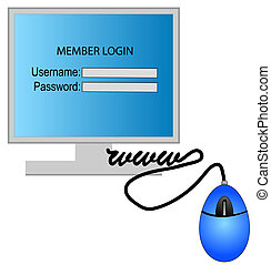 computer with member login and password on the screen