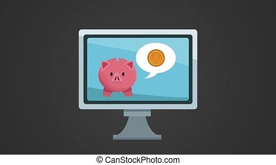 computer with piggy bitcoin ecommerce animation