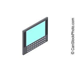 Computer with Screen Keyboard Vector Illustration