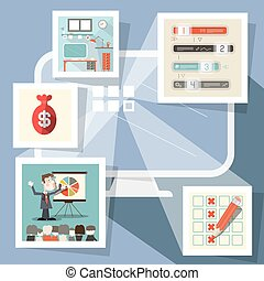 Computer with Screenshots Flat Design Vector
