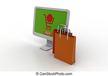 Computer with shopping bag