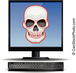 Computer with skull as virus - Vector illustration of a...