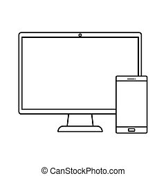 computer with smartphone line style icon