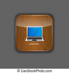 Computer wood application icons vector illustration