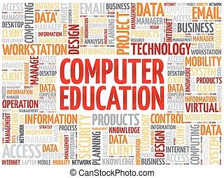 computer, woord, opleiding, wolk