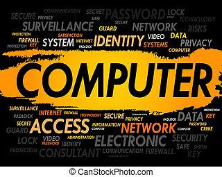 computer, woord, wolk