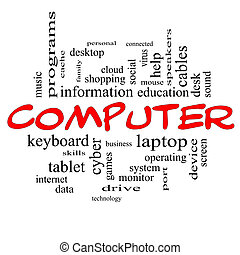Computer Word Cloud Concept in red caps
