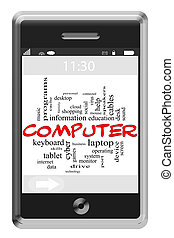 Computer Word Cloud Concept on Touchscreen Phone