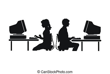 computer work - people work with computer silhouette
