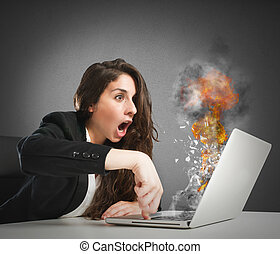 Computer work overload - Astonished woman looks at the ...