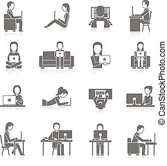 Computer Working Icons Set