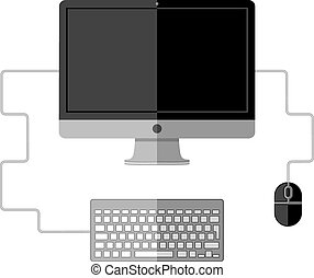 Computer workplace. Flat design