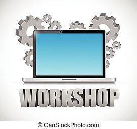 computer workshop concept illustration