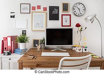 computer, workspace, disegnato, desktop