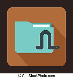 Computer worm icon, flat style