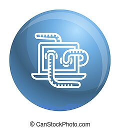 Computer worm icon, outline style