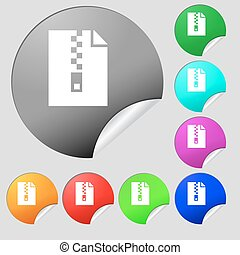 computer zip folder, archive icon sign. Set of eight multi colored round buttons, stickers. Vector