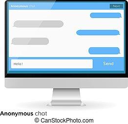 computerbildschirm, messaging, text, kästen, leerer , bubles