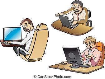 computere, cartoon, arbejder, forretningsmænd