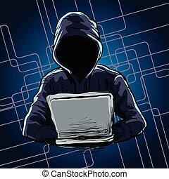computerhacker, spannweite, a, netz