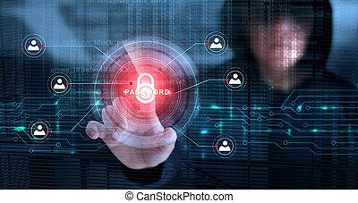 computerkraker, aandoenlijk, slot, pictogram, en, wachtwoord, met, binaire code, scherm, achtergrond., cyber, misdaad, concept