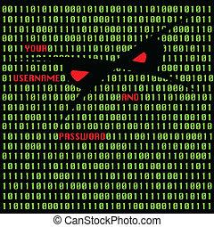computerkraker, aanval, vector, illustratie
