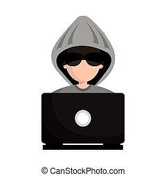 computerkraker, avatar, man