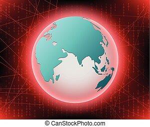 computerkraker, concept, eps10, cyber, achtergrond., aanval, vector, illustratie, wereld