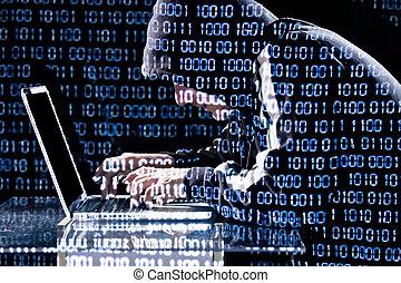 computerkraker, draagbare computer, het typen