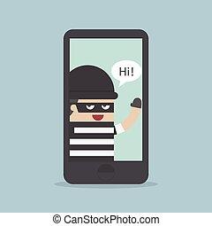 computerkraker, hacking, b, smartphone, dief