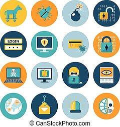 computerkraker, plat, iconen